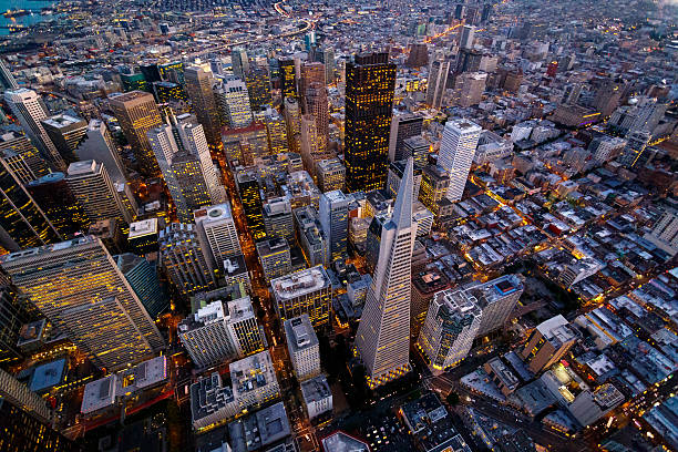 Aerial view of San Francisco Aerial cityscape view of San Francisco, California, USA san francisco california stock pictures, royalty-free photos & images