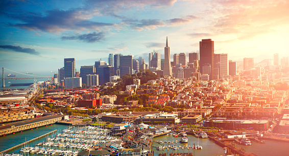 Aerial view of San Francisco city in California, USA