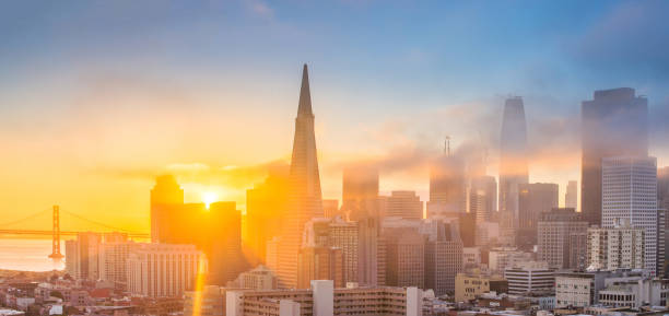 Aerial view of San Francisco SF cityscape. san francisco bay stock pictures, royalty-free photos & images