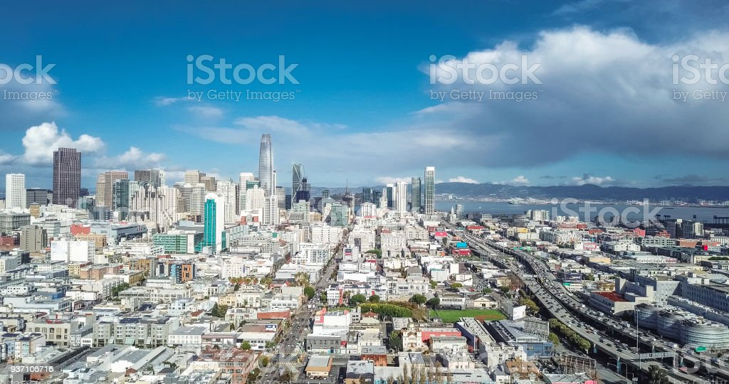 Aerial view of San Francisco skyline  alongside Freeway stock photo