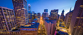 Aerial Panoramic View of San Francisco Skyline and Market Street at Dusk with City Lights, California, USA