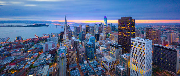 Aerial View of San Francisco Skyline at Sunrise Aerial View of San Francisco Skyline at Sunrise, California, USA western usa stock pictures, royalty-free photos & images
