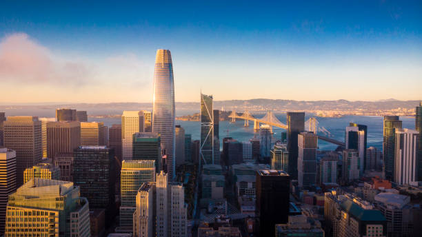 Aerial View of San Francisco Skyline at Sunset Aerial View of San Francisco Skyline at Sunset, California, USA san francisco california stock pictures, royalty-free photos & images
