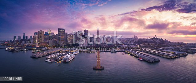 Aerial Panoramic Cityscape View of San Francisco at Sunset with City Lights, California, USA
