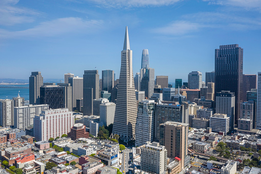 Aerial view of San Francisco's Financial District on Sunny Day