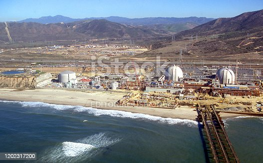 Aerial view of Units 2 and 3 at San Onofre Nuclear Generating Station located on a Pacific Ocean beach south of San Clemente, California, USA.  Scanned film, photogtaphed January 1980.