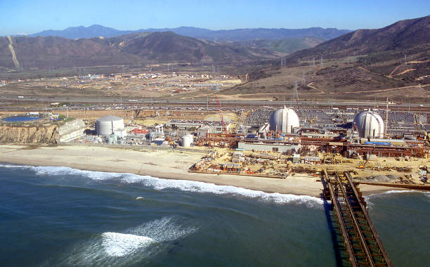 aerial view of San Onofre Nuclear Generating Station 1980 stock photo