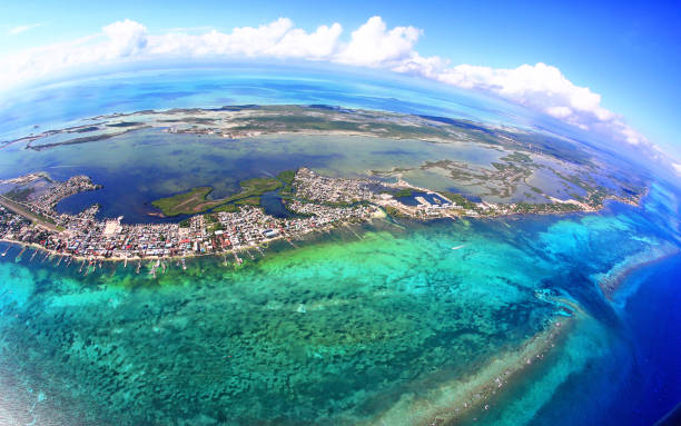 Aerial View of San Pedro town, Ambergris Caye, Belize with Barrier Reef stock photo