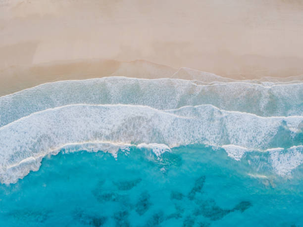 Aerial view of sand beach, ocean texture background. stock photo