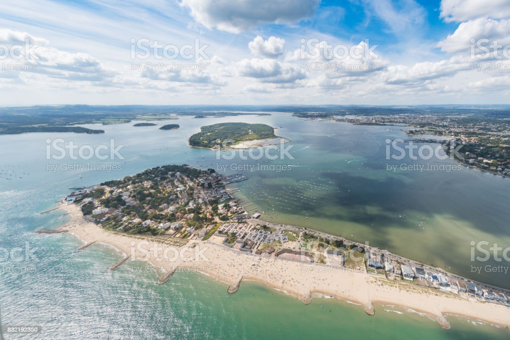 Aerial view of Sandbanks, Poole Harbour and Brownsea Island stock photo