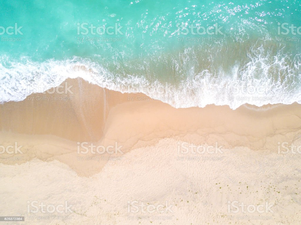 Aerial view of sandy beach and ocean with waves royalty-free stock photo