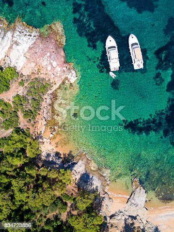 811600544 istock photo Aerial view of sandy beach, clear turquoise water and yachts 834723886