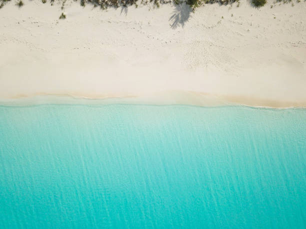 aerial view of sandy beach. exuma bahamas - exuma foto e immagini stock