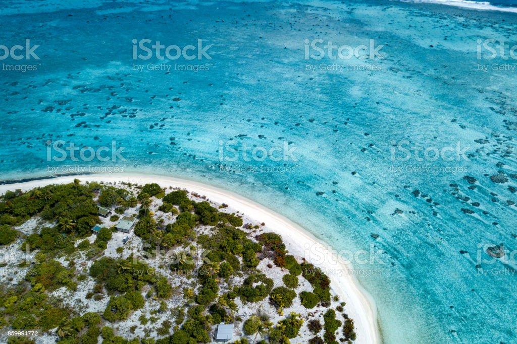 aerial view of sandy beach lagoon of polynesia Cook islands stock photo