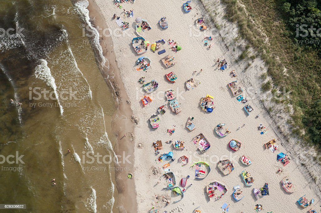 aerial view of sandy  beach on Baltic sea – Foto