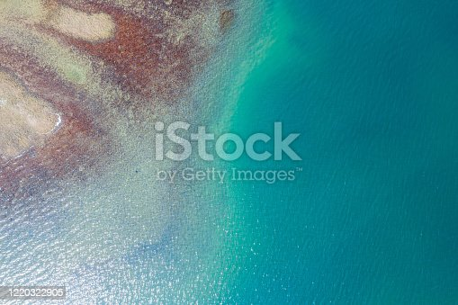 811600544 istock photo Aerial view of sandy beach with clear turquoise water 1220322905