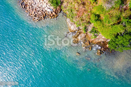 811600544 istock photo Aerial view of sandy beach with rocks and clear turquoise water 1217170125