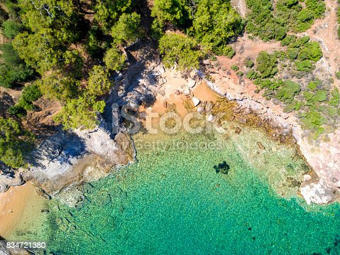 811600544 istock photo Aerial view of sandy beach with rocks and clear turquoise water 834721380