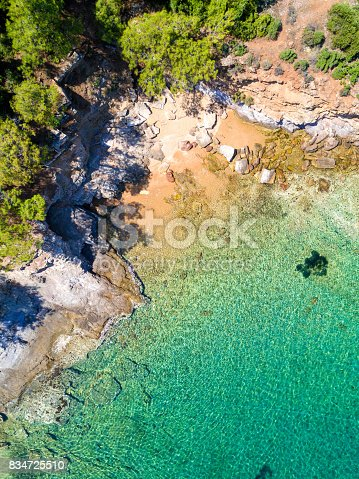811600544 istock photo Aerial view of sandy beach with rocks and clear turquoise water 834725510