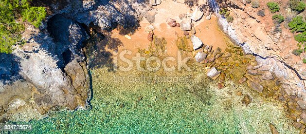 811600544 istock photo Aerial view of sandy beach with rocks and clear turquoise water 834725674