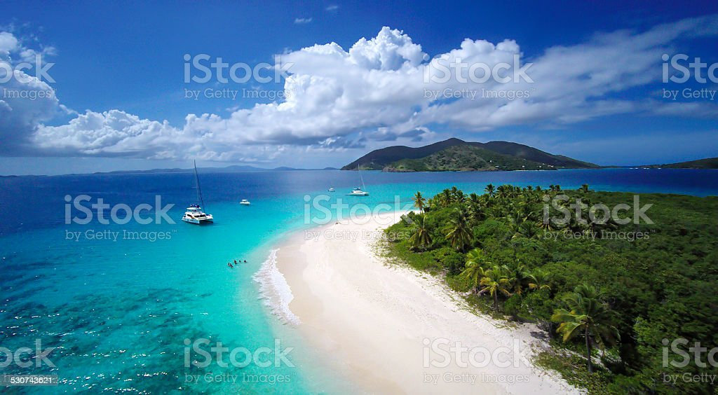 aerial view of Sandy Cay and Jost Van Dyke, BVI stock photo