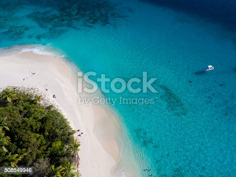 aerial view of a tropical beach on a deserted island, Sandy Cay, British Virgin Islands