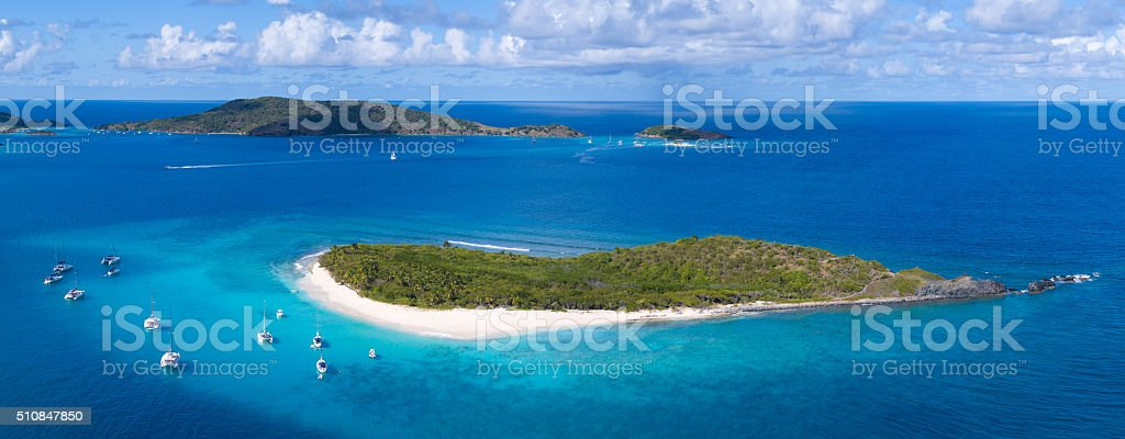 Aerial view of Sandy Cay, British Virgin Islands stock photo