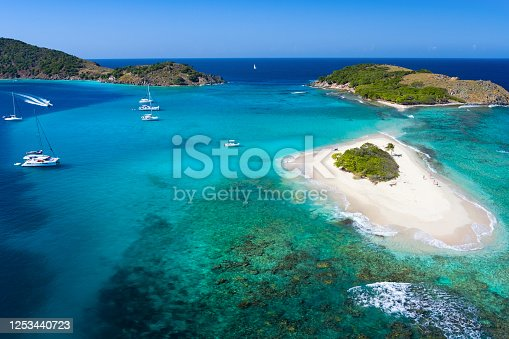 Aerial view of a tropical beach, Sandy Spit, British Virgin Islands