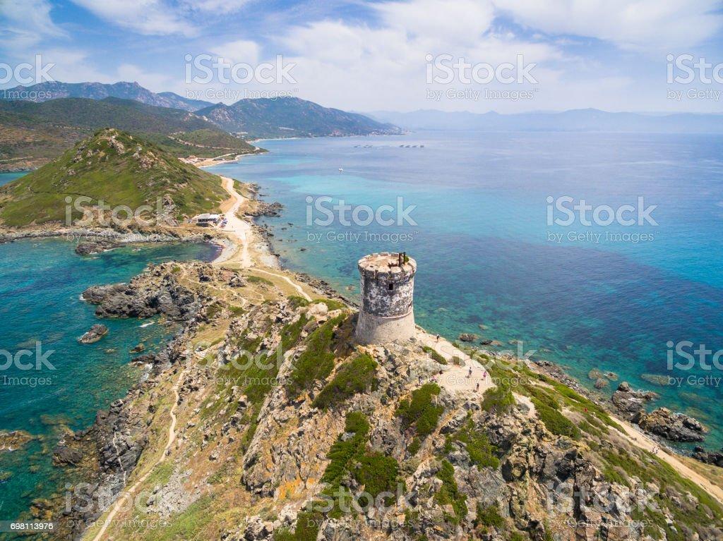 Vista aérea de las islas Sanguinarias sanguinarias en Córcega, Francia - foto de stock