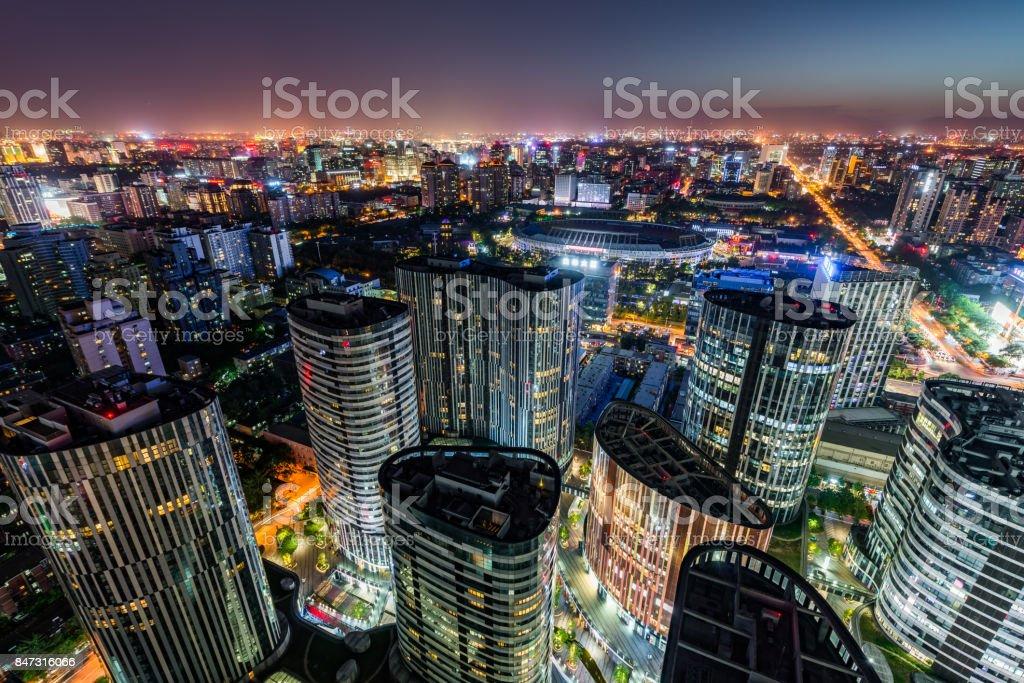 Aerial View of Sanlitun SOHO - City Lines at dusk stock photo