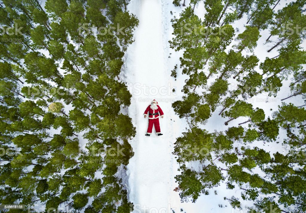 Aerial view of Santa Claus stock photo