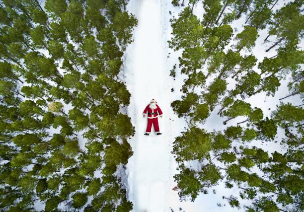 Aerial view of Santa Claus stock photo