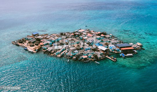 Aerial view of Santa Cruz del islote the most populated island in the world in San Bernardo Islands, on Colombia's Caribbean Coast