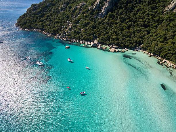 Aerial  view  of Santa Giulia beach in Corsica Island France stock photo