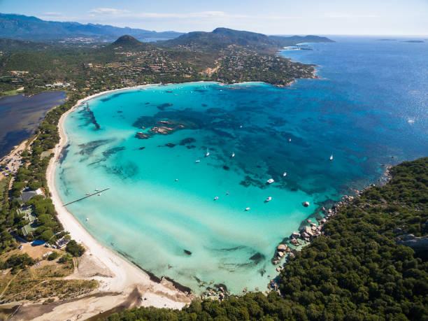 Aerial  view  of Santa Giulia beach in Corsica Island in France stock photo