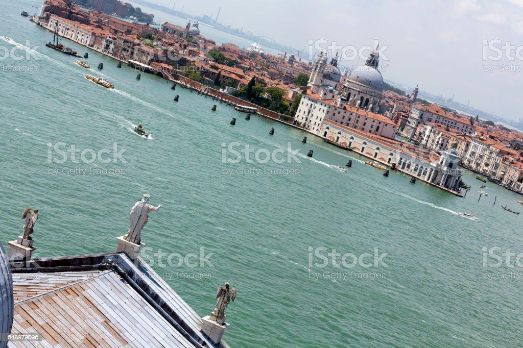 Aerial view of Santa Maria delle Salute and Punta Dogana in Venice stock photo