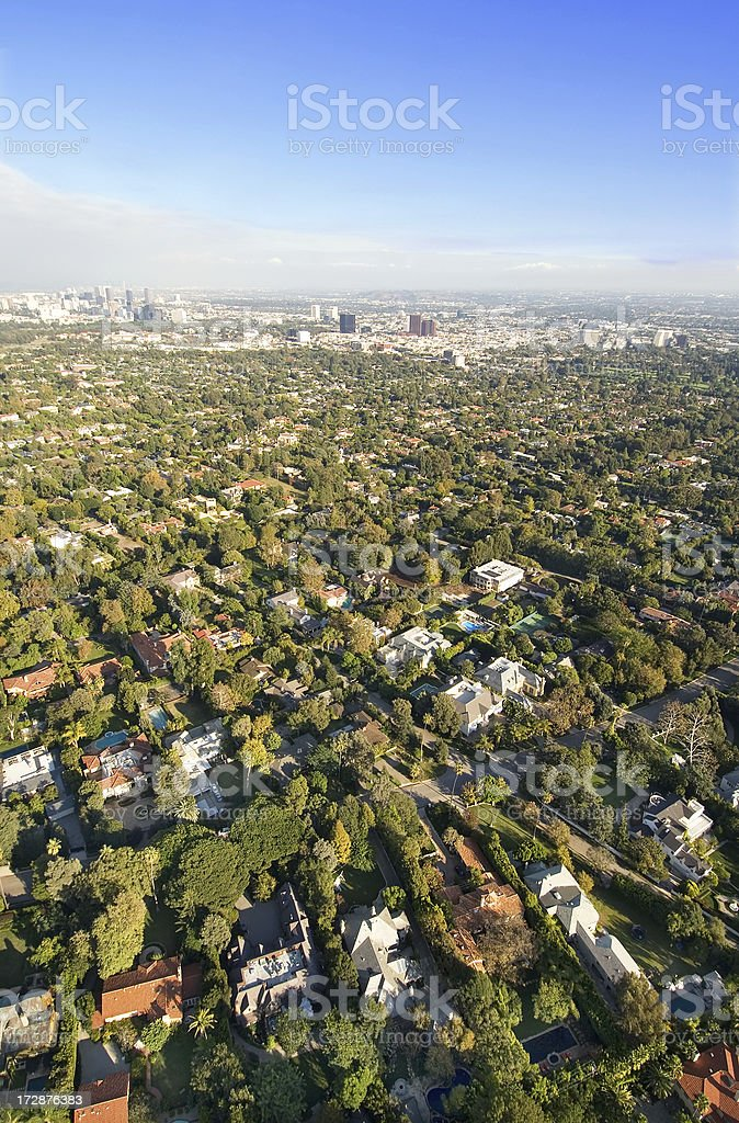 Aerial View of Santa Monica and Brentwood stock photo
