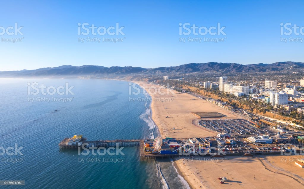 Aerial View of Santa Monica Beach at Sunset stock photo