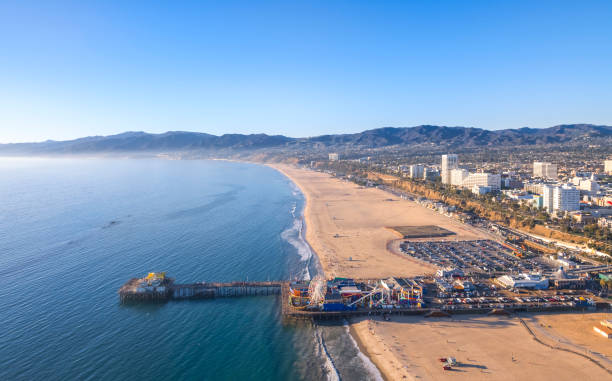 Aerial View of Santa Monica Beach at Sunset stock photo
