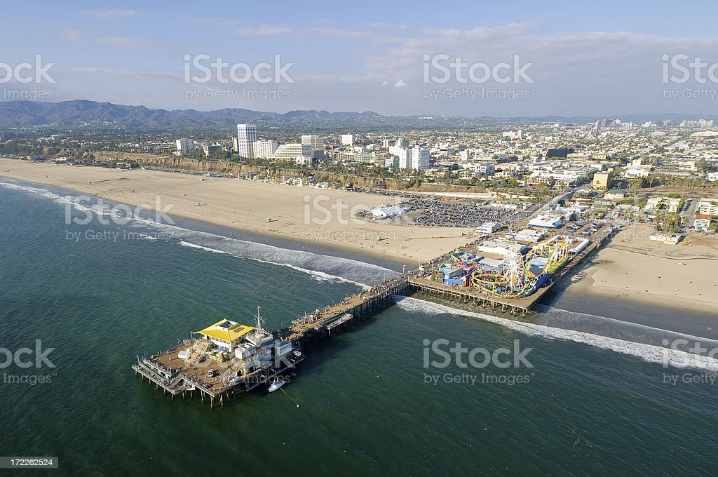 Aerial View of Santa Monica Pier in Southern California royalty-free stock photo