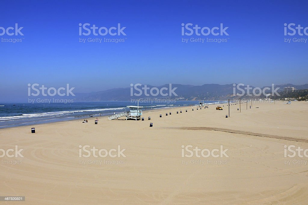 Aerial View of Santa Monica Pier in Southern California stock photo