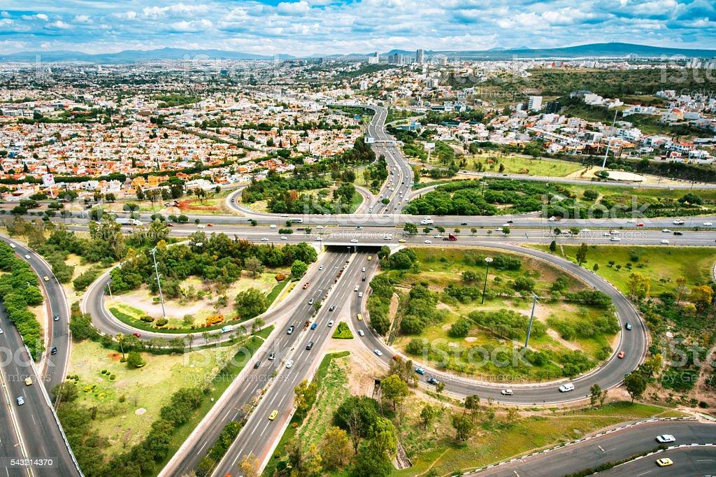 Aerial View of Santiago de Queretaro Mexico stock photo
