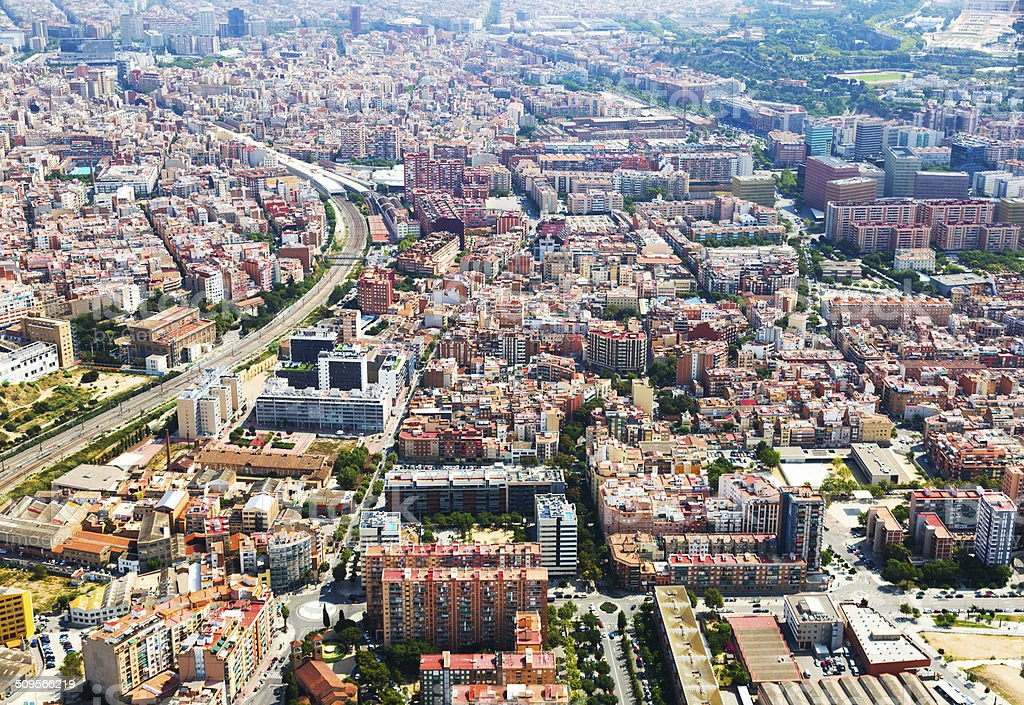 Aerial view of Sants-Montjuic residential district. Barcelona stock photo