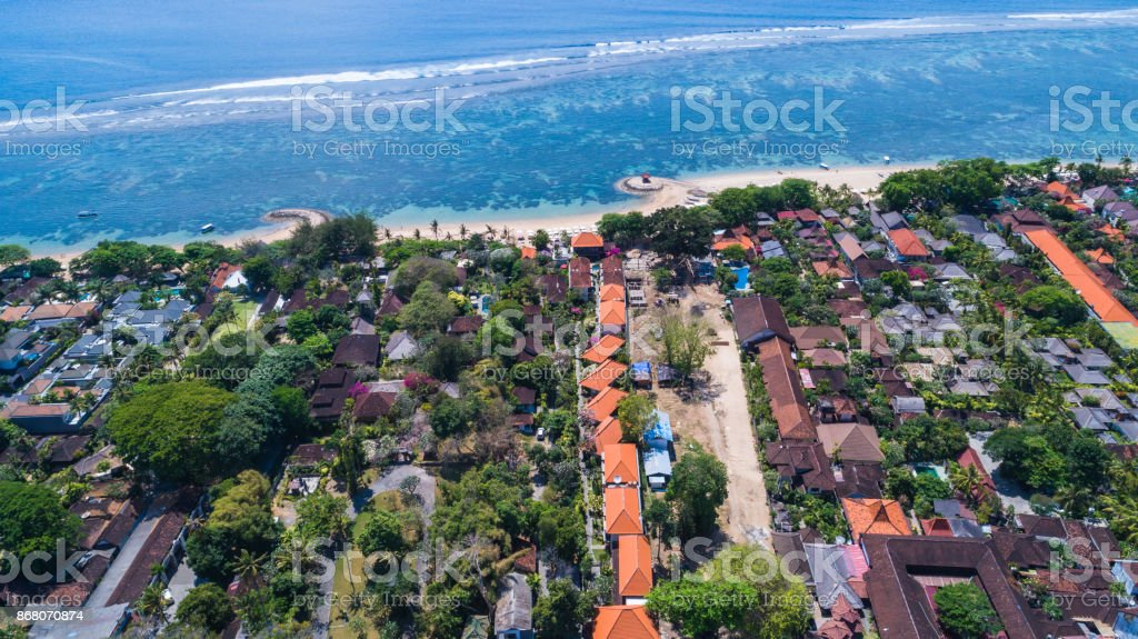 Aerial view of Sanur beach, Bali, Indonesia. stock photo