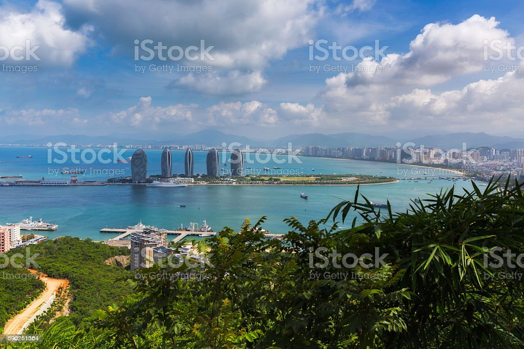 Aerial view of Sanya city stock photo