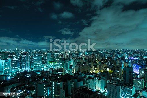 istock Aerial view of Sao Paulo at night in Brazil 583809214