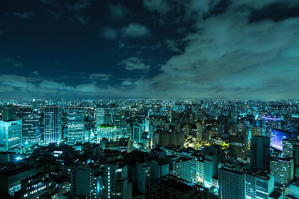 vista aérea de são paulo à noite no brasil - sao paulo - fotografias e filmes do acervo