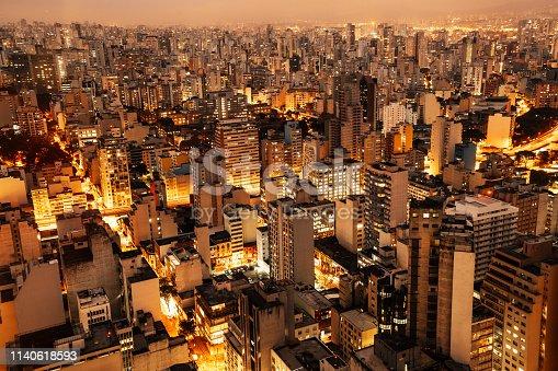 Aerial view of Sao Paulo, Brazil at night