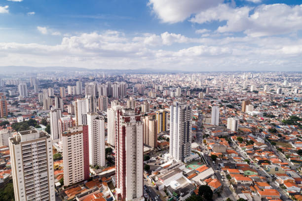 aerial view of sao paulo, brazil - urban sprawl stock photos and pictures