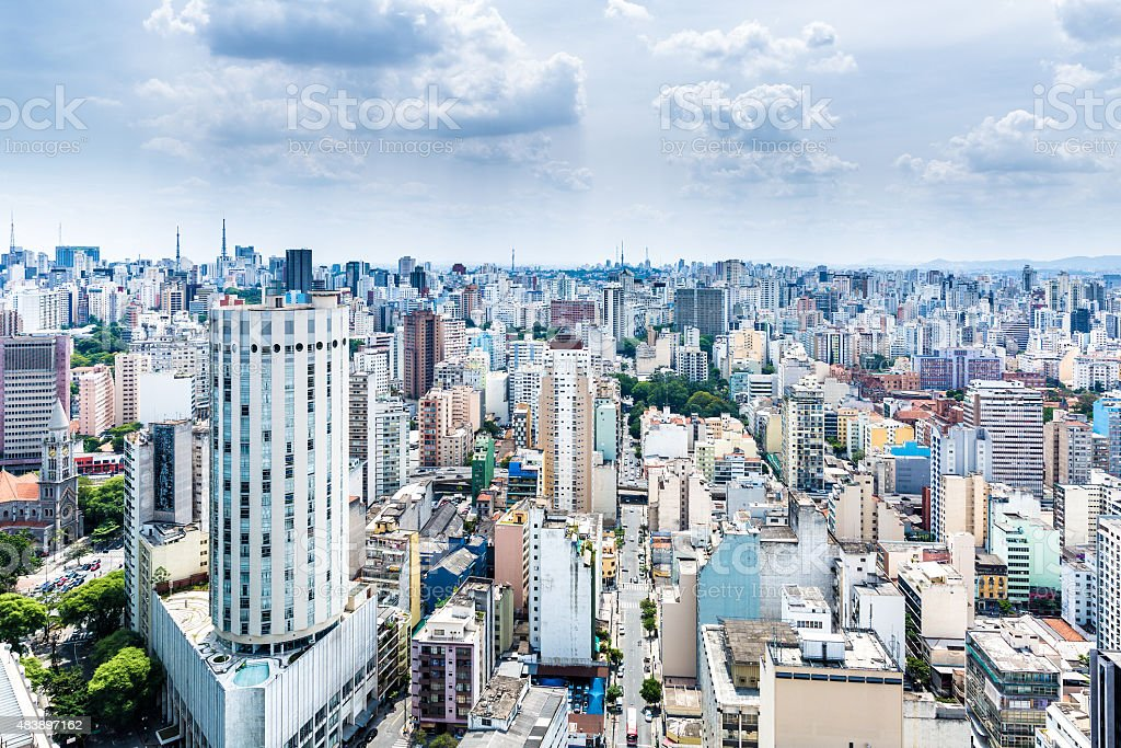 Aerial view of Sao Paulo in Brazil stock photo